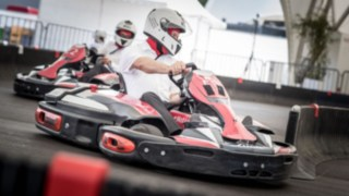 E-karts on the kart track at World of Material Handling 2016