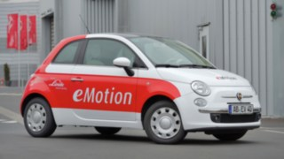 Fiat 500 with electric drive developed by Linde Material Handling for the company Karabag